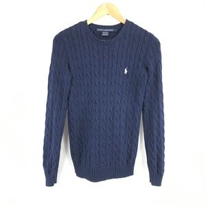 Ralph Lauren Sport Blue Cable Crewneck Sweater